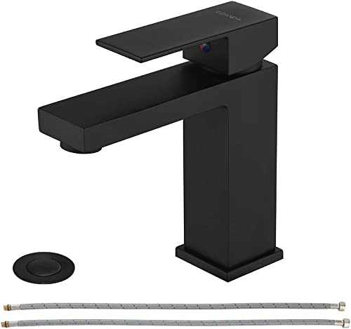 EZANDA Brass Single-Handle Bathroom Sink Faucet with Escutcheon, Pop Up Drain Stopper Water Supply Hoses, Matte Black, 14253