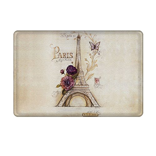 Uphome Vintage Paris Themed Bathroom Rug Light Brown Eiffel Tower Bath Rug Non-Slip Soft Absorbent Bathroom Mat Kitchen Floor Carpet (16 x 24 Inch)