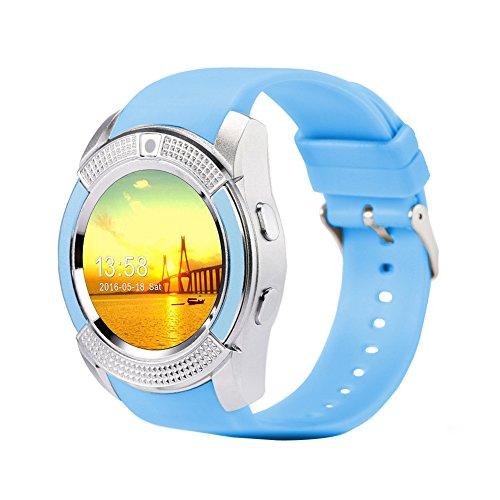 PUAK523 Smart Watch, V8 Sport Bluetooth Smartwatch mit Kamera SIM TF Karte mit Schrittzähler Schlafüberwachung, rundes…
