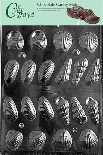Cybrtrayd N017 3D Shells Chocolate Candy Mold with Exclusive Cybrtrayd Copyrighted Chocolate Molding Instructions (Nautical Chocolate Molds)