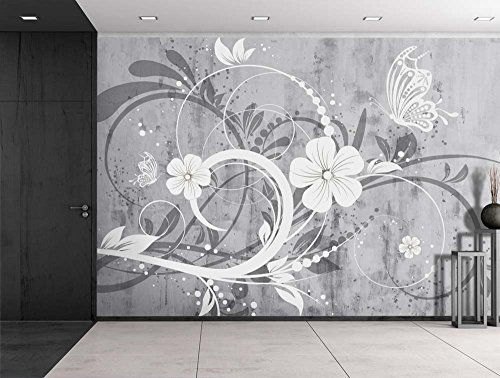 Wall26 - Spiral Floral Graphic on a Grayscale Grungy Texture with a Vignette Effect Around It - Wall Mural, Removable Vinyl Wallpaper, Home Decor - 66x96 inches