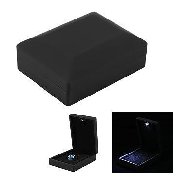 4 Tipos Caja de Exhibición de Joyería con Luz LED, Estuche de Almacenamiento de Joyería para Anillo/Colgante/Pulsera/Collar para Mejor Regalo(Caja de ...