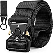 Tactical Belt with Keychain for Men, Military Style Nylon Web Rigger Belt Accessories with Heavy-Duty Quick-Re