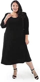 product image for Vikki Vi Women's Plus Size 3/4 Sleeve A-Line Dress