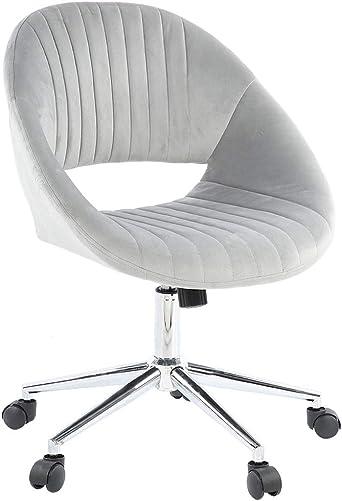 POCREATION Gray Velvet Rotating Seat