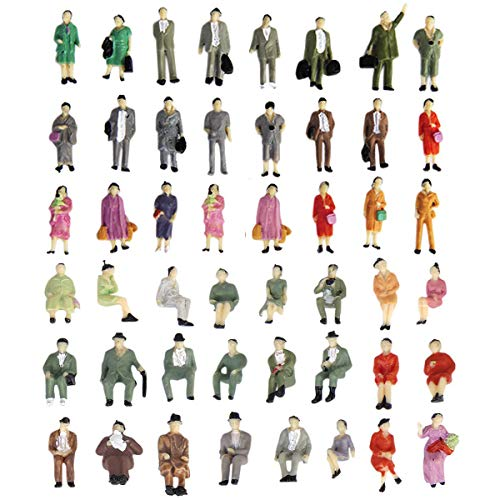 1:87 HO Scale People Figures 50PCS   Gdaya Hand Painted Seated and Standing Miniature People Figures Passengers   Model Train Figures Tiny People for Miniature Scenes (Ho Scale Figure)