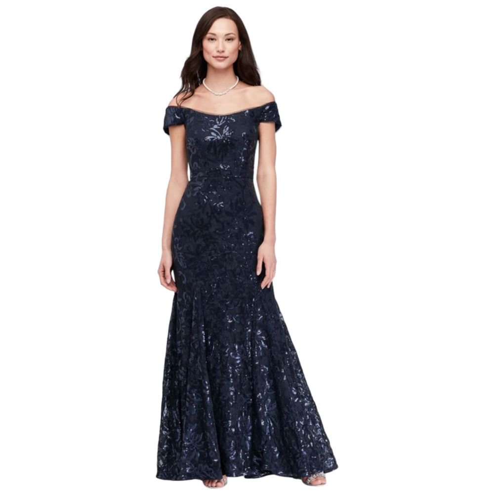 a0736b8a955d Sequin Lace Off-The-Shoulder Mermaid Mother of Bride Groom Gown Style 1495X  at Amazon Women s Clothing store