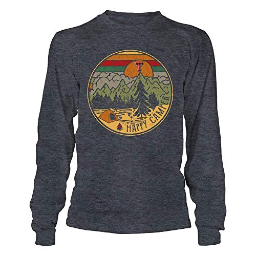 (FanPrint Texas Tech Red Raiders T-Shirt - Camping - Camping Night Circle - Happy Camper - Retro Style - Longsleeve Tee/Dark Grey/L)