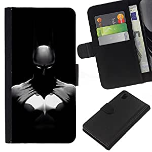 Sony Xperia Z1 L39 C6902 C6903 C6906 C6916 C6943 , la tarjeta de Crédito Slots PU Funda de cuero Monedero caso cubierta de piel (Dark Bat Superhero)