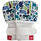 goumimitts - smart, stay on baby mittens baby boys- 1 pack M/L tiny zoo (blue)