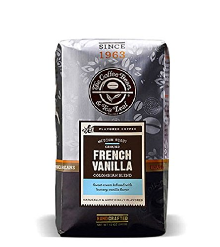 The Coffee Bean & Tea Leaf, Hand-Roasted French Vanilla Ground Coffee, 12-Ounce Bags (Pack of 2)