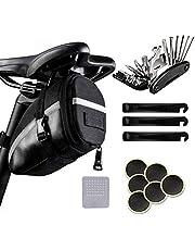 TWBEST Fiets reparatie Tool Kits,Fiets Multitools,16 in 1 fiets reparatie tool set, opvouwbare Multitool MTB punctie reparatie tool met zadel tas