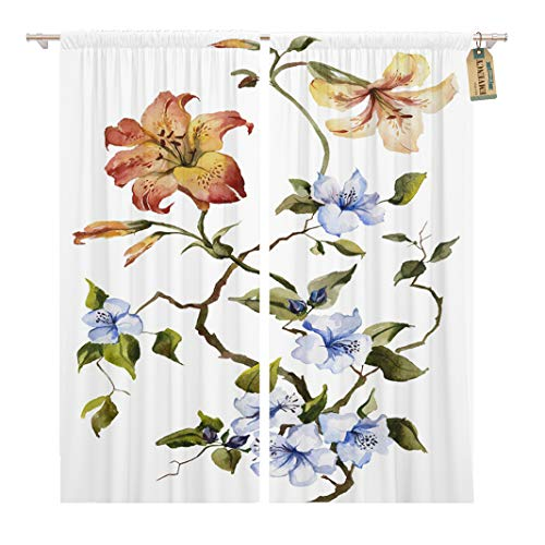 Golee Window Curtain Colorful Orange Tiger Lilies and Blue Flowers Watercolor Painting Home Decor Rod Pocket Drapes 2 Panels Curtain 104 x 63 inches (Drapes Tiger Lily)