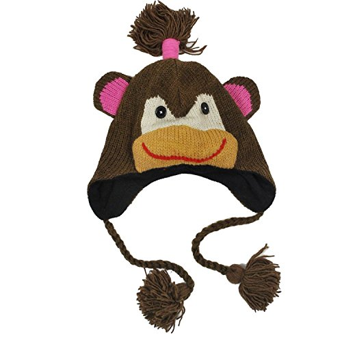 Adult Size Womens Woolen Winter Animal monkey Hat-Brown-one - Adult Monkey Hat