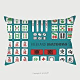 Custom Satin Pillowcase Protector Vector Sketch Set Of Riichi Mahjong Majiang Elements Number Tiles From To In Dots 272199248 Pillow Case Covers Decorative