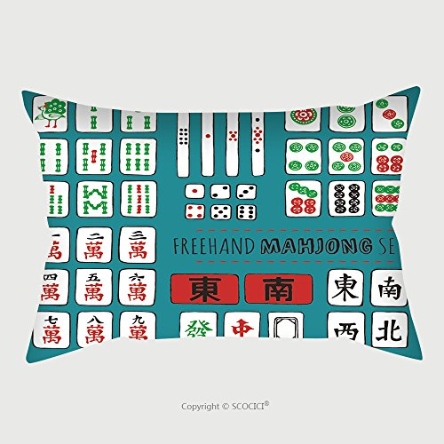 Custom Satin Pillowcase Protector Vector Sketch Set Of Riichi Mahjong Majiang Elements Number Tiles From To In Dots 272199248 Pillow Case Covers Decorative by chaoran
