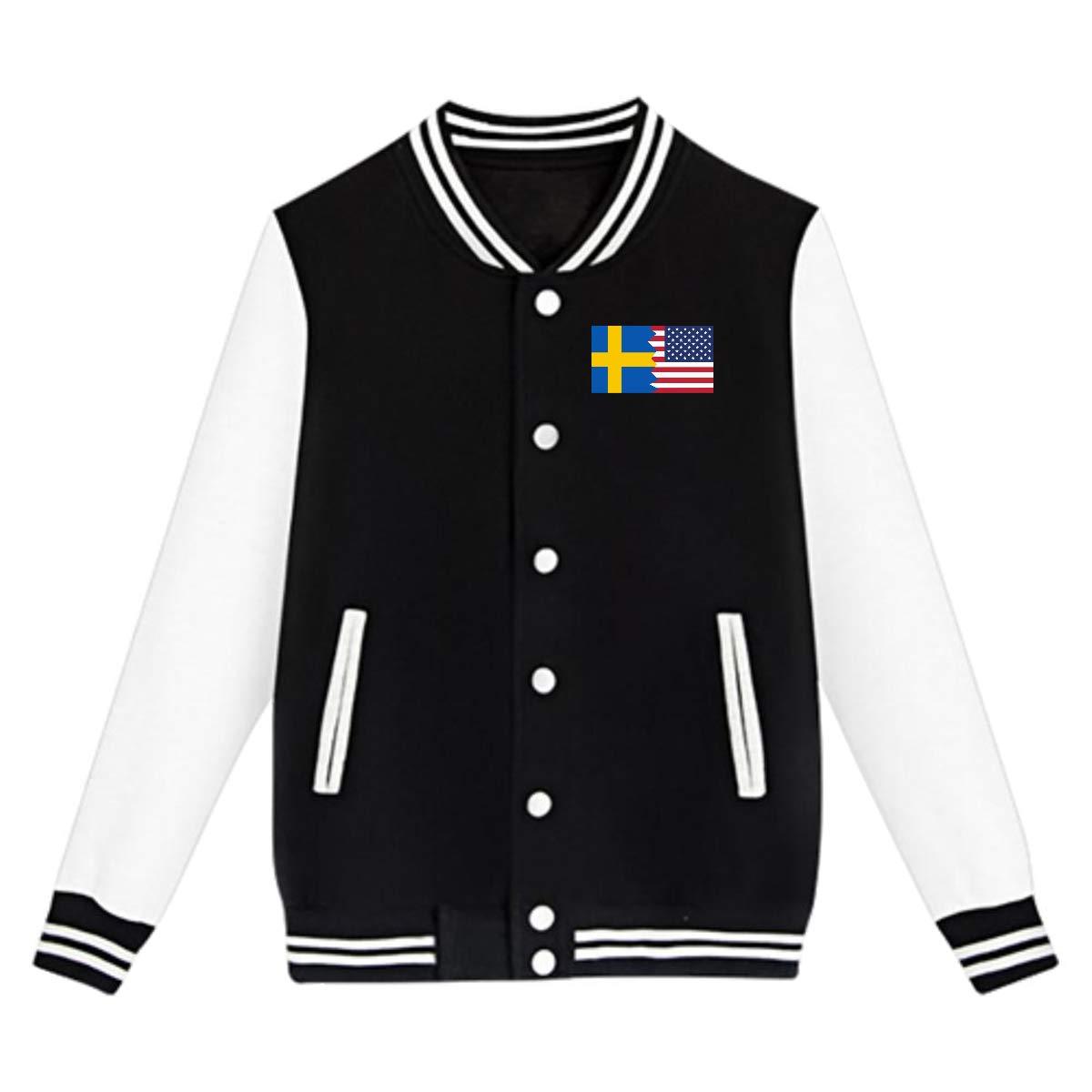 NJKM5MJ Unisex Youth Baseball Uniform Jacket Swedish USA Flag Coat Sport Outfit