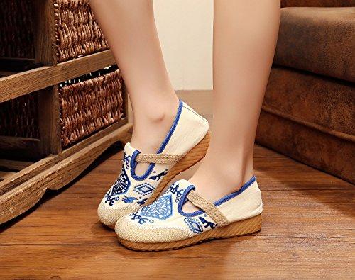 WXT Zapatos bordados, lenguado del tendón, estilo étnico, zapatos de tela femenina, moda, cómodo, casual dentro del aumento Blue