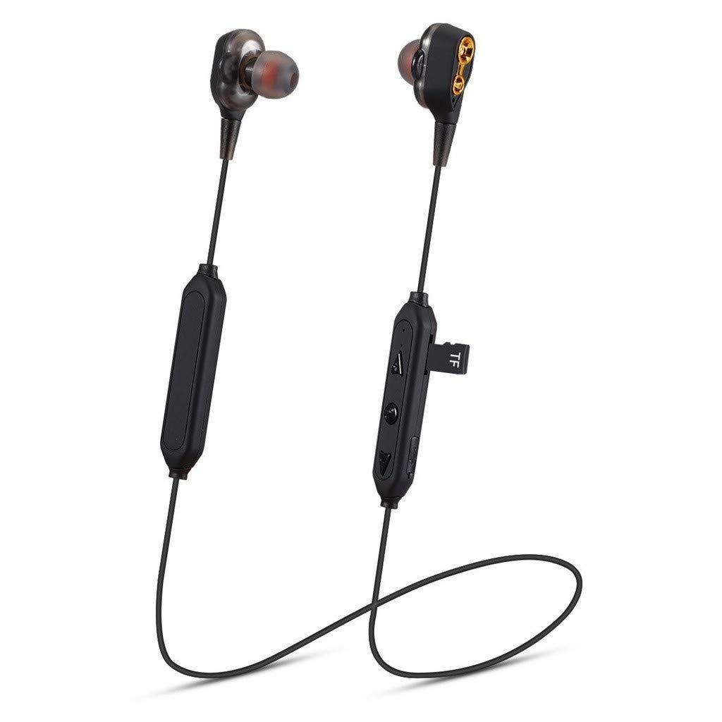 Websad_Christmas HiFi Heavy Bass Headphone Dual Dynamic Driver Earphone Wirless Bluetooth TF Card Headset (Black)