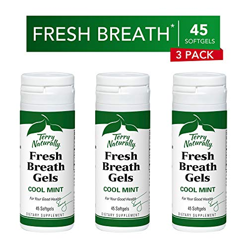 Peppermint Sugar Free Sugar - Terry Naturally Fresh Breath Gels (3 Pack) - Cool Mint Flavor, 45 Softgels - Sugar-Free Peppermint Oil Breath Mints, Chemical-Free - Non-GMO, Gluten-Free - 135 Servings