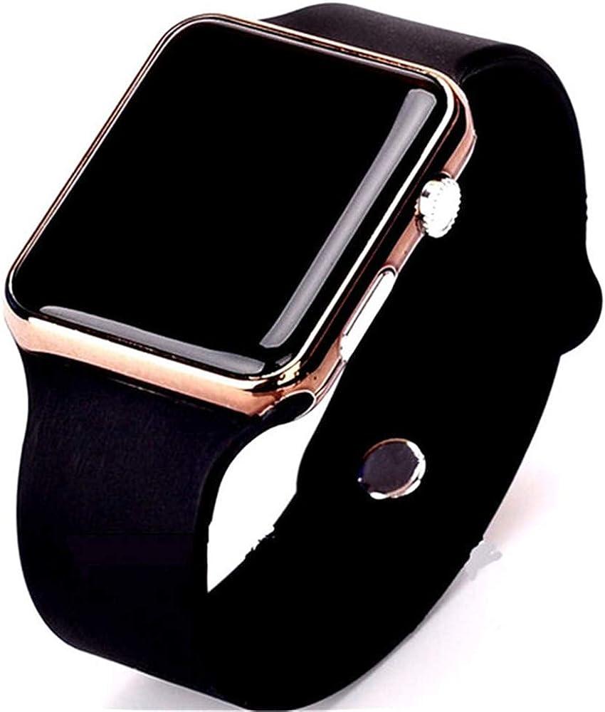 RRWL Reloj LED Deportivo y de Ocio para Mujer Reloj Digital Unisex Reloj de Pulsera de Silicona para Parejas Regalos navideñosNegro Oro Rosa