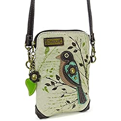 Chala Crossbody Cell Phone Purse - Women Canvas Multicolor Handbag with Adjustable Strap - Bird - Safari Sand