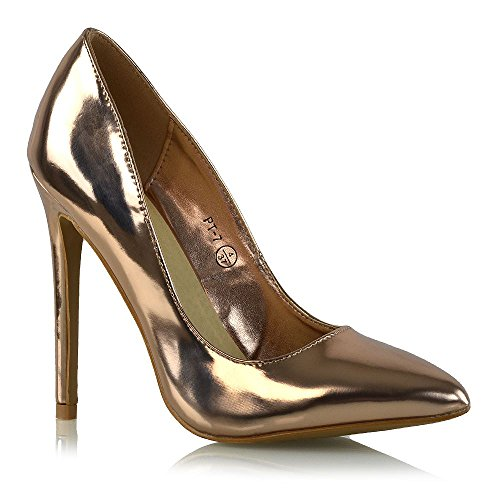 Heel Gold Evening Prom Shoes (ESSEX GLAM Womens Stiletto Heel Rose Gold Metallic Shoes Ladies Pointed Toe Court Work Pumps 8 B(M) US)