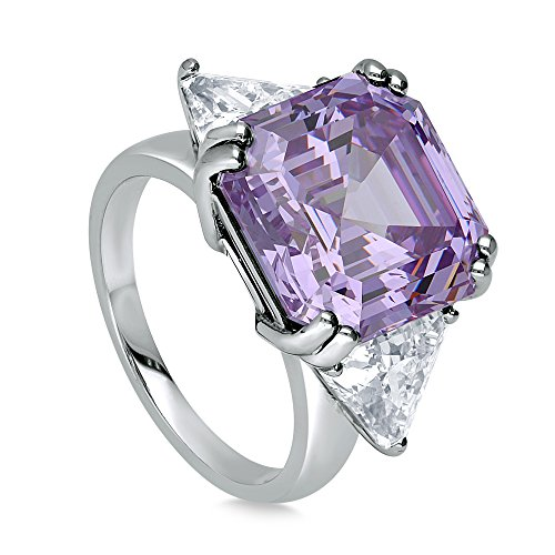 BERRICLE Rhodium Plated Sterling Silver Purple Asscher Cut Cubic Zirconia CZ Statement 3-Stone Cocktail Anniversary Fashion Right Hand Ring Size 6