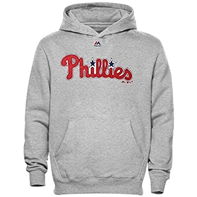 Philadelphia Phillies MLB Youth Road Wordmark Pullover Hooded Fleece Gray (Youth Medium 10/12)