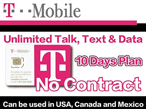T-Mobile Prepaid SIM Card Unlimited Talk, Text, and Data (USA, Canada and Mexico) for 10 days - T Mobile Sim Prepaid