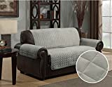 Quilted Micro Suede Pet Dog Couch Sofa Furniture Protector Cover, Kashi, 5 Colors, 3 Sizes (Love Seat, Gray)