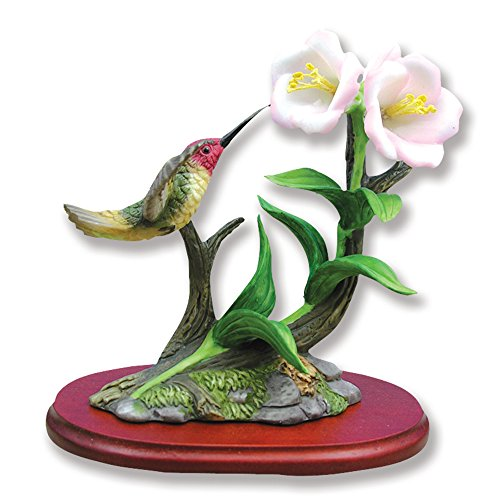 BANBERRY DESIGNS Hummingbird Figurine Porcelain with Primrose Flowers on Wood Base ()