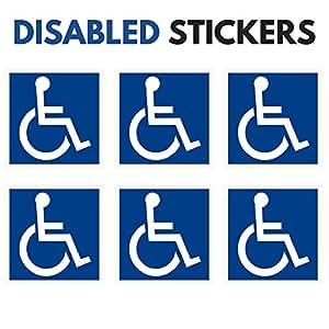 "Disabled / Wheelchair Symbol - 6 PACK - ADA Compliant Handicap Access 3"" X 3"" Inch Blue Sticker Vinyl Decals for Window, Bumper, Laptop & MORE"