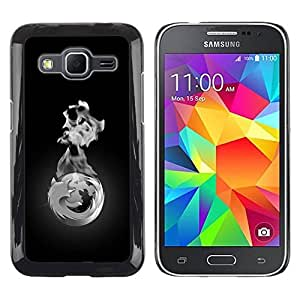 DIY PHONE CASE / Slim Protector Hard Shell Cover Case for Samsung Galaxy Core Prime SM-G360 / Monochrome Fox Earth Fire Black White by ruishername