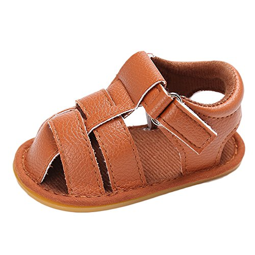 Brwon Leather (Estamico Baby Boys Summer Sandals Anti-Skid Rubber Sole Leather Shoes Prewalker Brwon US 5)