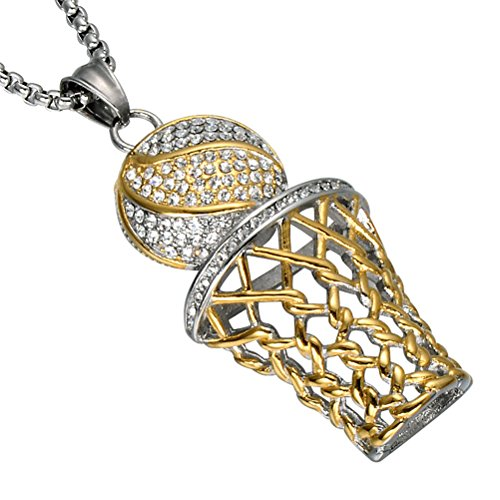 UNAPHYO Men's Stainless Steel Silver Gold Hip Hop Diamond Mini Basketball Rim Pendant Charms Necklace 24 Inches Chain ()