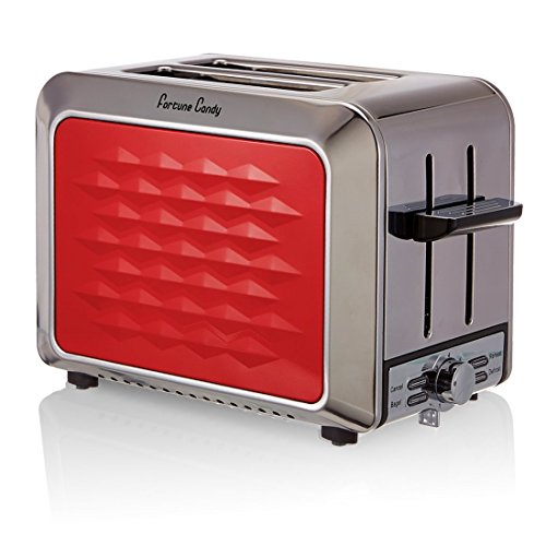 Fortune Candy Stainless Steel 2-Slice Toaster, Wide Extra Slot, Bagel/Defrost/Reheat/Cancel Function, Red
