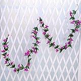Mynse 2 Pieces 78.7'' Silk Flower Vines for Home Garden Fence Living Room Decoration Artificial Mini Lily Flower Vine Purple
