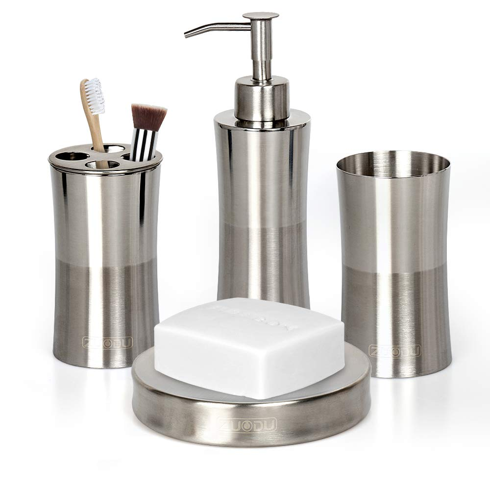Bathroom Accessories Set, Stainless Steel 4 Pieces Includes Soap Dispenser, Toothbrush Holder, Tumbler, Soap Dish for Decorative Countertop and Housewarming Gift-Mirror and Brushed 2 Tone finish