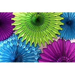 Tissue Paper Fan Collection - 5 Large Assorted Fans (Peacock - Lime, Turquoise, Purple, 18 and 13 inches)