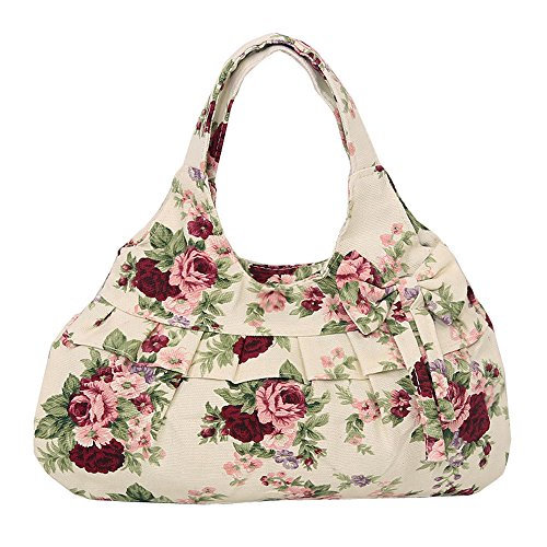Catkit Tote Womens Camellia Shoulder Hobo Red Ruffles Bag Floral Canvas Bowknot Printed Handbag rdfn40qrw