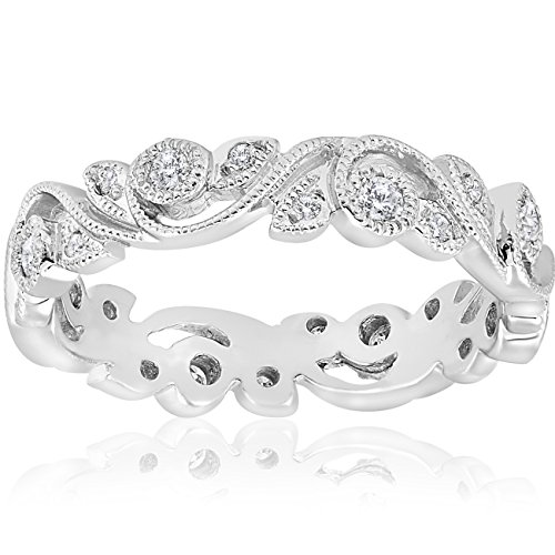 1/4ct Vintage Stackable Filigree Diamond Eternity Wedding Ring 14k White Gold
