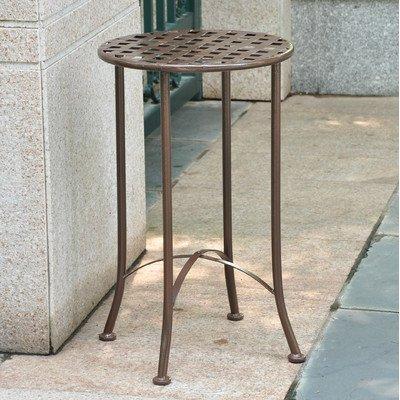 Cheap  International Caravan Mandalay Iron Patio Side Table in Matte Brown