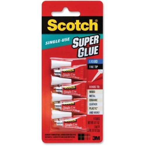 Scotch Single Use Super Glue - 0.07 oz - 4/Pack - Clear (Ounce 0.07 Glue Super)
