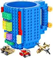 Versatile Build-on Brick Mug,Compatible with LEGO DIY Building Kit,with 3 Pack of Blocks,Novelty Coffee Cup wi