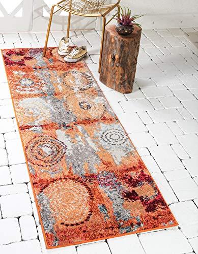 Unique Loom Estrella Collection Modern Abstract Orange Runner Rug (2' x 7') from Unique Loom