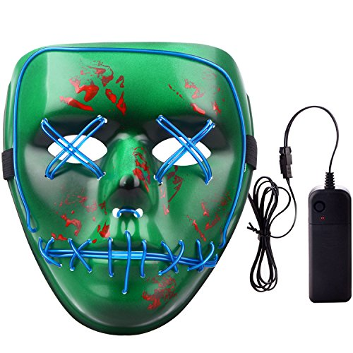 PinnacleT1 Halloween Scary Led Light Up Mask, Purge Anarchy Cosplay Costume El Wire Light Up for Festival Parties -