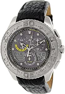 Citizen JR4037-04E Eco-Drive Mens Watch Genuine Leather Black Dial