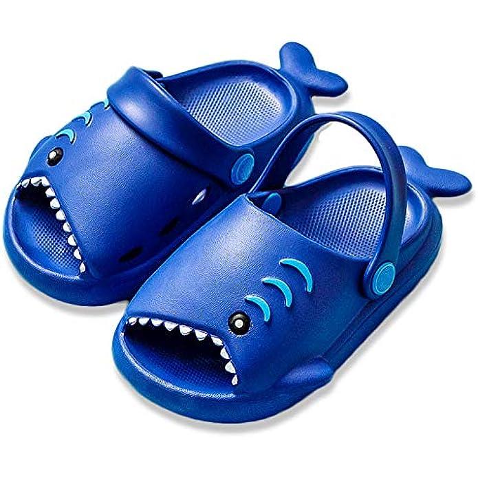 Toddler Clogs Slippers, Shark Sandals Girls Boys Cute Cartoon Slides Slip-on Garden Shoes for Beach Pool Shower Slippers