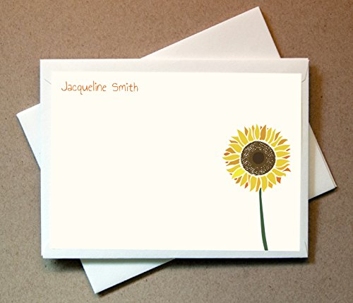 Personalized Sunflower Note Cards (40 Flat Cards and Blank Envelopes)
